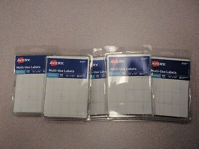 """5 Packs of 525 (2625 total) Avery Multi Use 1/2"""" x 3/4"""" Removable Labels"""
