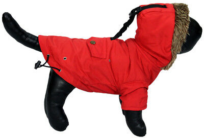 Red Hooded Puffer Parka Coat for Small Dogs