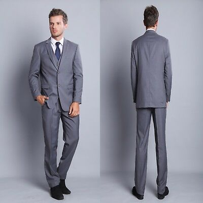 Men Suits Formal Slim Fit Wedding Business Grey Suits Man Jacket Tuxedos Coat