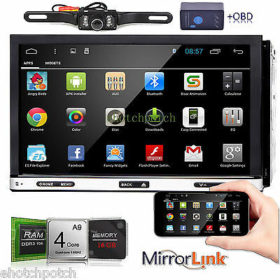"""7"""" Android 6.0 Capacitive 2Din Car DVD Player GPS Radio Wifi 3G BT Stereo+OBD2"""