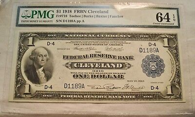 1918 $1 PMG 64 EPQ National Currency Cleveland Federal Reserve Bank Note Unc 718