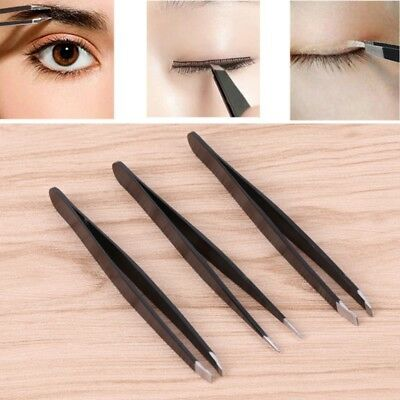 Eyebrows Tweezers Set of 3 with Stainless Steel Slant Straight Pointed Tip Black