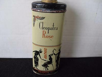 Vintage Cleopatra Rose Talcum Powder Tin with Contents