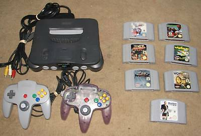 Nintendo 64 Console  + 2 x Controllers,  Leads & 7   games
