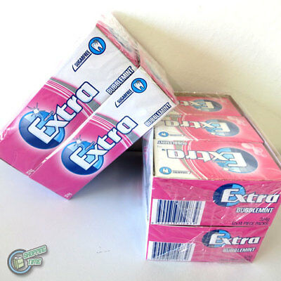 2 lot 24 x 14 EXTRA Chewing Gum Bubblemint Pink SugarFree Wrigley's Wrigley Bulk