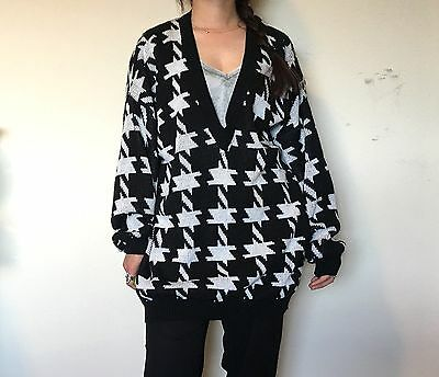 VTG 90s 80s Black White HOUNDSTOOTH 100% Acrylic oversized Slouchy SWEATER [L]