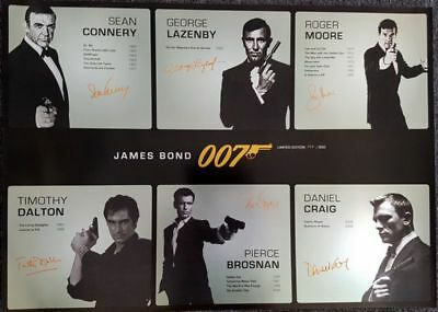 James Bond 007 Limited Edition Print Signed By All 6 - Silver Metallic Poster