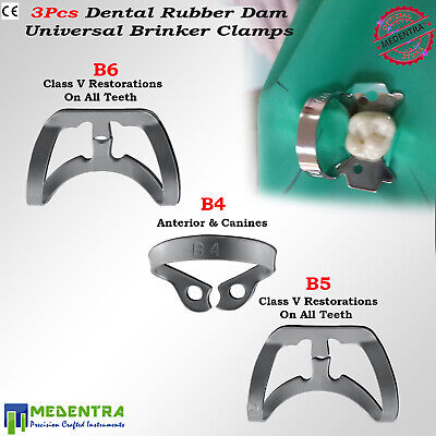 BRINKER Universal Rubber Dam Metal Clamps for Upper Lower Premolar Molars 3PCS