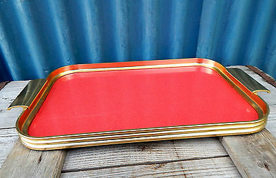 Vintage Mid Century 1960s Cocktail  Drinks Serving Tray - Red