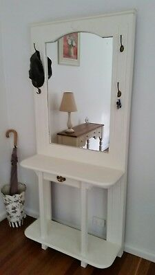 Chic French Hamptons Vintage White Entrance Hall Stand Mirror Hooks Drawer