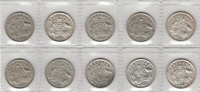 10 x Different Sixpences. No Junk. See Scans. 50% Silver. Free Post Aust Only