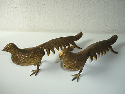 "Pair Of VTG Large Brass Pheasant Figures - Male And Female - Japan - 13.5"" Long"