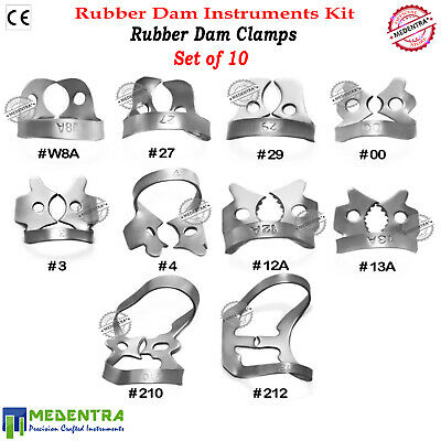 10PCS Rubber Dam Clamps Basic Kit Restorative Molars Metal Upper Camp Dental Lab