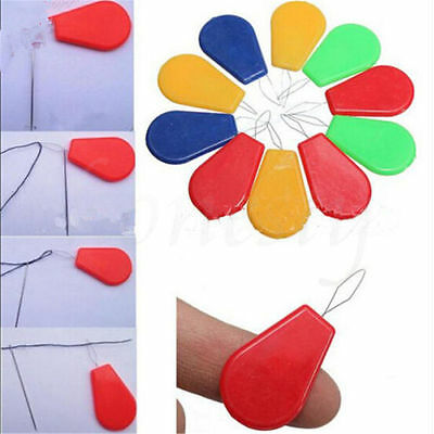 13X Plastic Bow Wire Needle Threader Stitch Insertion Tool Hand Machine Sewing