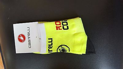 Fluorescent Yellow Castelli Rosso Cycling Socks Size 7-13