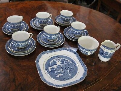 Vintage CHELSON CHINA Willow Pattern Tea Set. 21 pieces.  Made in England