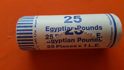 ONE ROLL OF 25 COINS EGYPT 1 POUND 25 mm DIAM COIN KING TUT ANKH AMON UNC