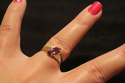 9ct  Yellow Gold and Amethyst Ring Size 'N'