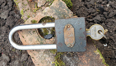 Vintage Steel Padlock Lock with Brass Plaque Tri-Circle with 1 key Made In China
