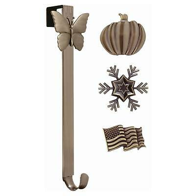 Adjustable Wreath Hanger, Oil-Rubbed Bronze with snap-on icons