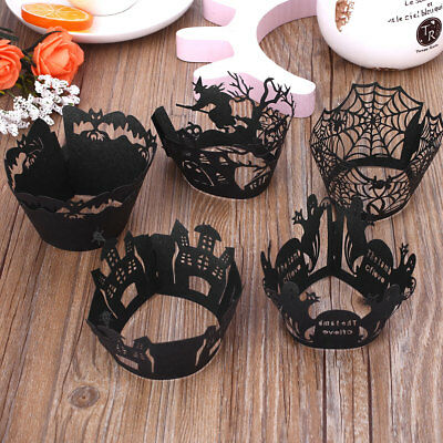 Cupcake Wrapper Cake Cup Halloween Party Bat Spider Ghost Kitchen Baking