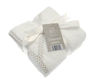 2 Soft White Elli and Raff Baby Hooded Bath Time Towel 100% cotton Baby Gift