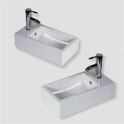 Bathroom Basin Sink Wall Hung Mounted Cloakroom Corner Ceramic Left Right Bowl