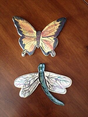 BlueSky Clayworks Plaque Set Butterfly Dragonfly Signed Great Gardner Gift