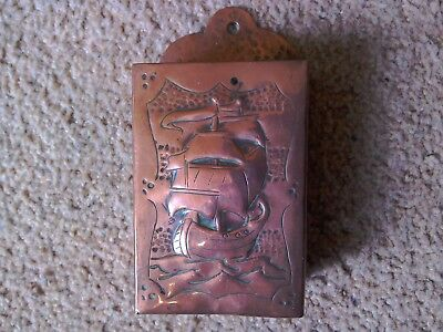 Arts and Craft Copper Match Box Holder ,