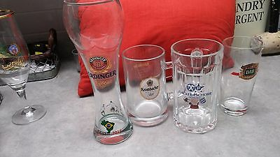 Clear Out Set Of 4 German Beer Glasses-Hacker Pschorr,erdinger,dab,krombacher