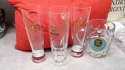Clear Out Set Of 4 German Beer Glasses; Bitburger Pils -2  Lowenbrau, Binding