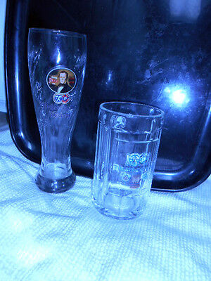 SET of TWO  GERMAN BEER GLASSES -  HACKER -PSHORR - LARGE STEIN & WEISSE STYLE