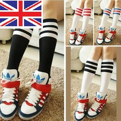 "Girls Football Basketball Baseball Tennis Gym Sport Knee High Striped Socks ""uk"""