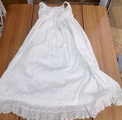 Vintage Linen And Lace Long Baby Petticoat Nightdress Christening Baptism
