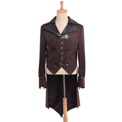 Vintage Mens Swallow-tailed Coat Victorian Steampunk Aviator Cosplay Costume