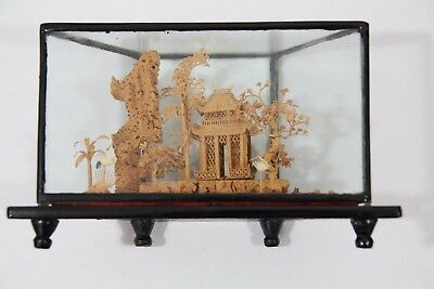 Vintage Chinese Carved Cork Art in a Glass box frame