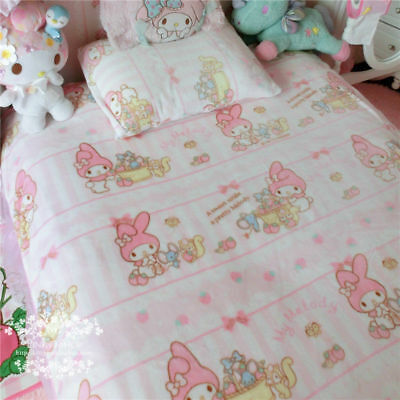 "Kawaii Bowknot My Melody Kitty Blanket Flannel Japanese Anime Bed Sheet 55""*79"""