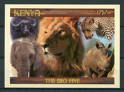 Kenya 2017 MNH Big Five 1v Imperf M/S Rhinos Elephants Lions Wild Animals Stamps