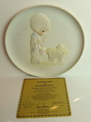 "Precious Moments ""I'll Play my drum for him"" Joy of Christmas Plate Ltd Edition"