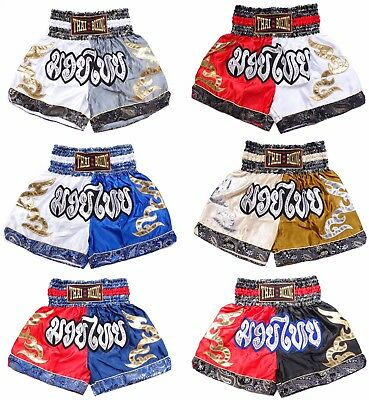Muay Thai Kid boxing shorts Kickboxing MMA Satin Kanok pattern Trunks Grappling