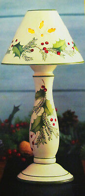 "Lenox Holiday Gatherings 15"" Candlestick Lamp Christmas Holly Candle NIB 15 inch"