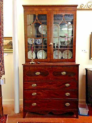 American Federal Secretary Bookcase With Inlay, Cross Banding & Wavy Glass