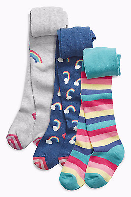 Next S/s 2017 3 Pk Multi Rainbow Stripe Print Tights Age 12 ~ 18 Mths Bnip