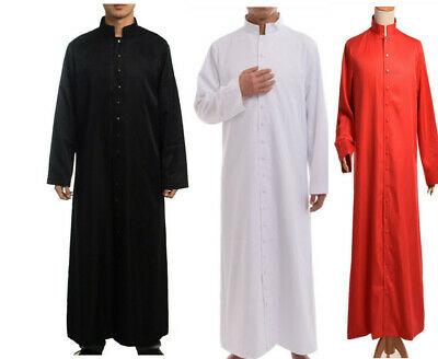 Clergy Roman Cassock Robe Liturgical Vestments Single Breasted Black Cassock