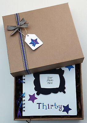 "30th Birthday Guest Book, 8"" x 8"" boxed Scrapbook, Birthday Party Photo Album"