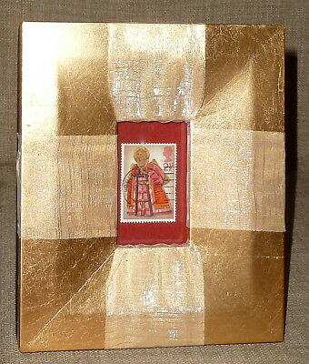 Nice FRAMED & MATTED 1972 BRITISH 2 1/2 PENCE CHRISTMAS STAMP SHADOWBOX~ANGEL