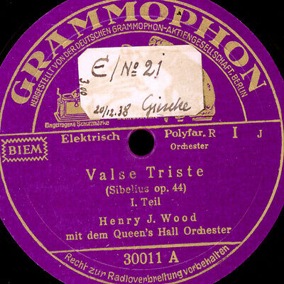 HENRY J.WOOD & QUEEN'S HALL ORCH. Sibelius: Valse Triste Op. 44   78rpm   S4309