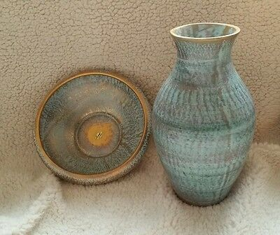 Stangl Antique Gold Pottery Set of Vase and Bowl with 22 Karat Gold Trimmings