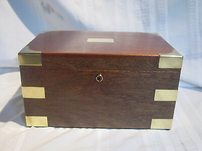 Antique Vintage Large Mahogany Chest Cigar Humidor Brass Trim Reconditioned