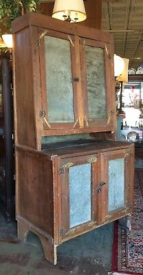 Antique 1840s Primitive American Folk Art Pie Safe Cupboard